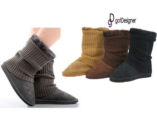 New Women Shoes Boots Suede Comfort Faux Fur Line Warm Winter Mid Calf