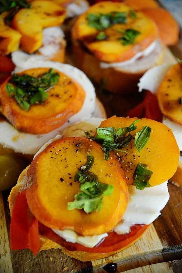 Peach, Tomato and Mozzarella Crostini. Yep, you heard that ...