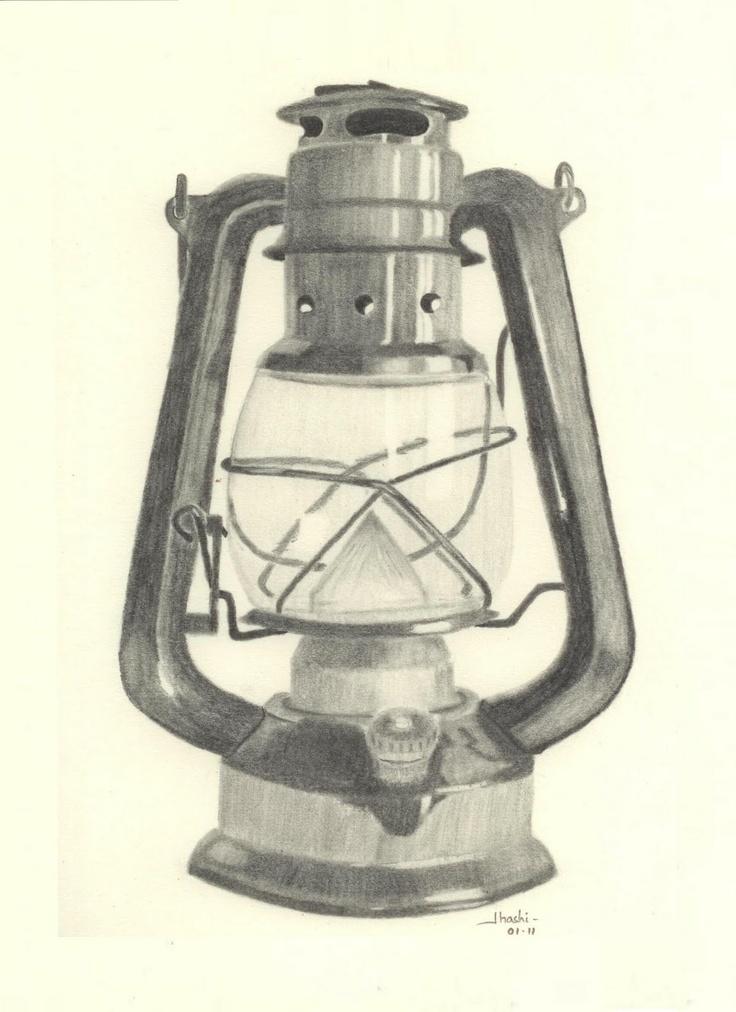 Old Oil Lantern Drawing