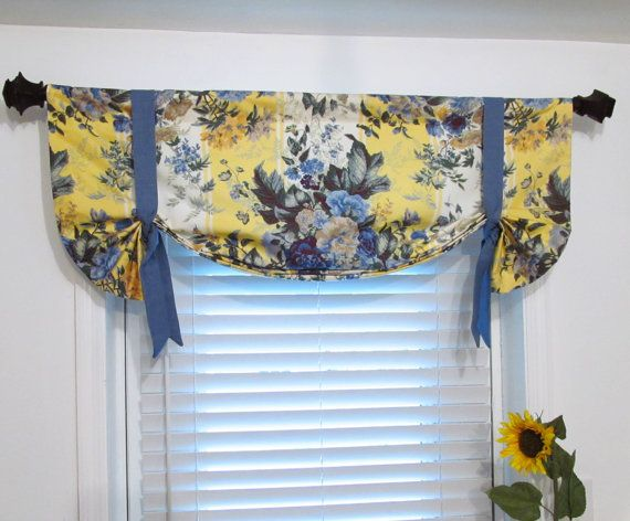 Blue And Yellow Floral Lined Tie Up Valance Window Curtain