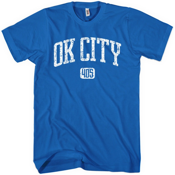 Oklahoma City 405 T-shirt - Distressed - Men S to 4XL and Youth XS to XL - Black, Blue, Gray or Dark Red. $20.00, via Etsy.