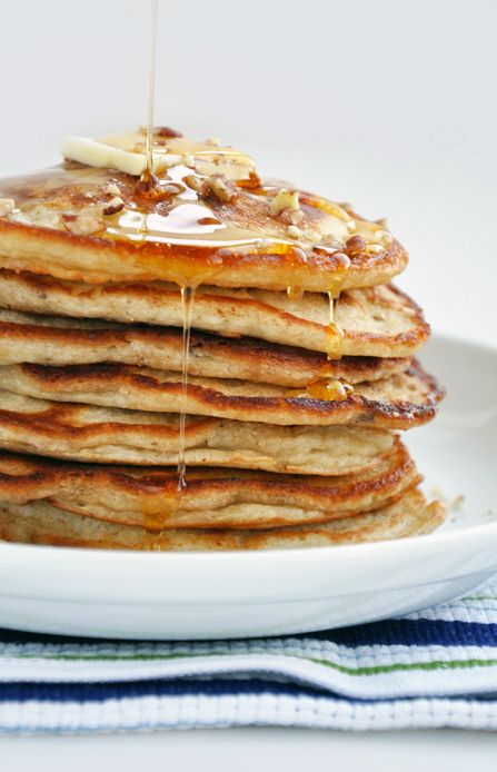 Banana nut pancakes. Great base recipe. Will just make a few healthier ...