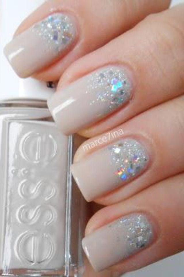 Nude holo glitter base nails  Nails  Pinterest