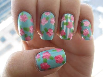 Blue Floral Nails How To