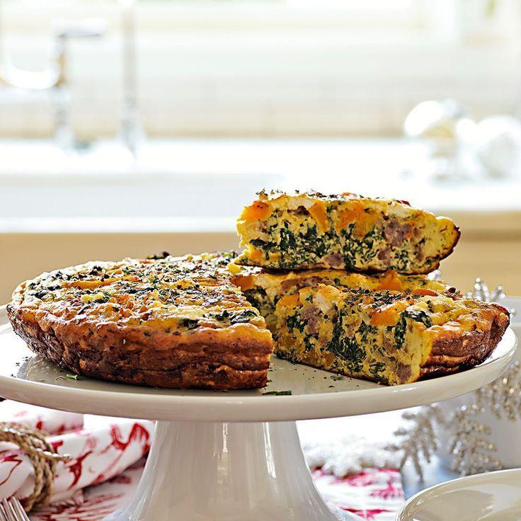 Butternut Squash, Kale and Sausage Frittata.