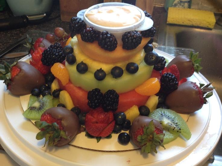 Birthday cake made from fruit  cake  Pinterest