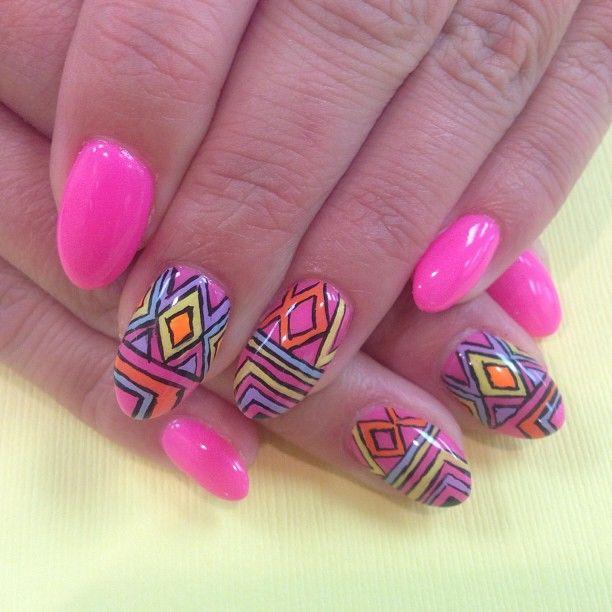 Colorful Nail Art: Colorful Tribal Nail Art