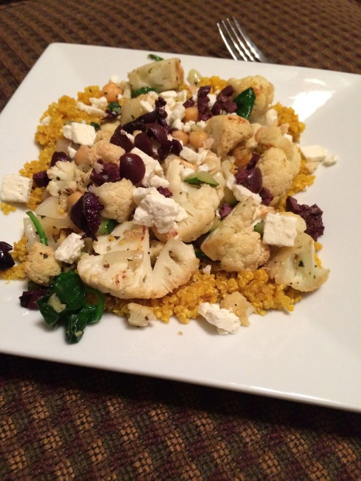 Warm Cauliflower, Quinoa and Feta Salad