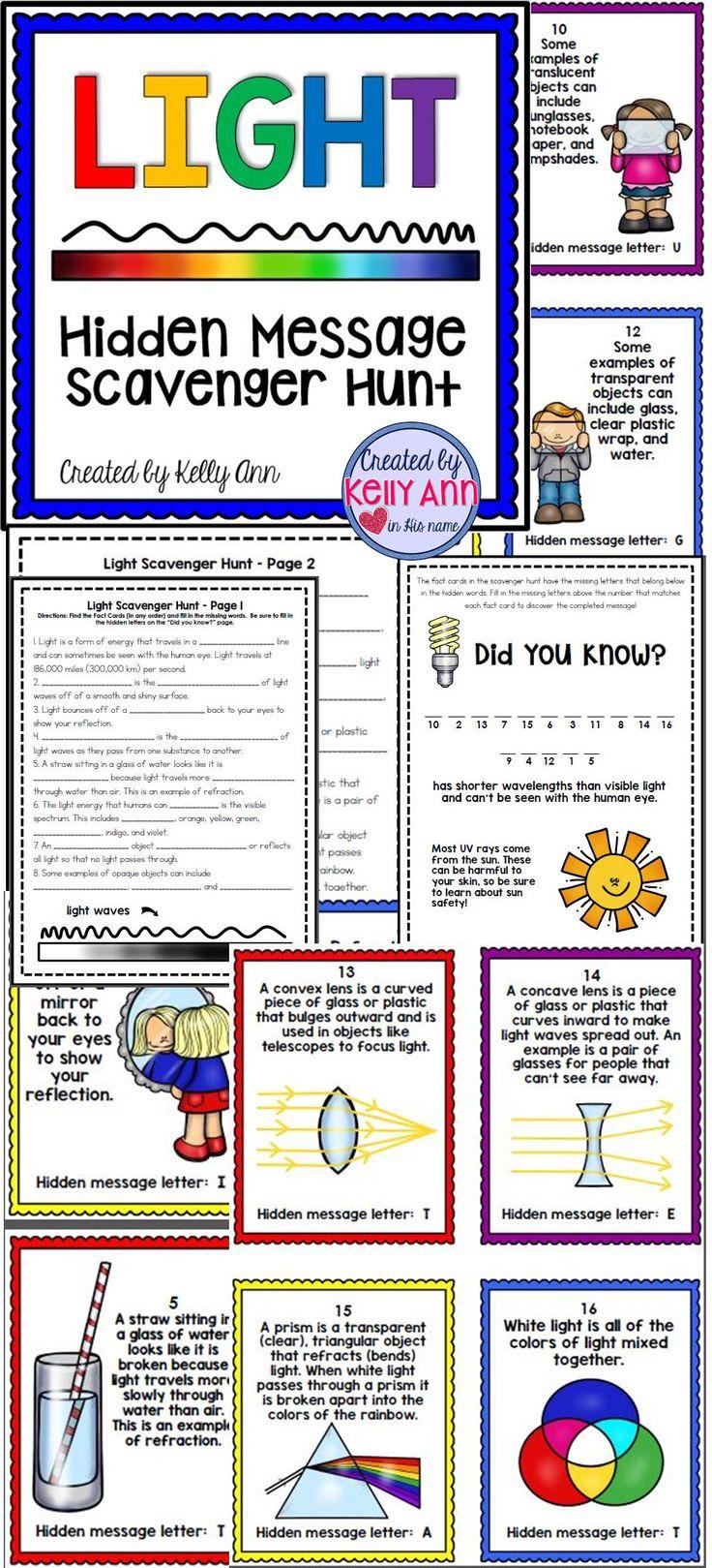 Light energy worksheets 5th grade