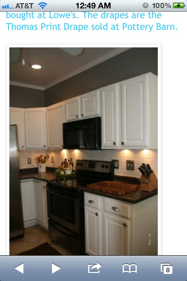 kitchen white cabinets black appliances  Kitchen  Pinterest