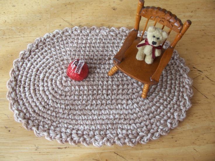 Star Wars Crochet Doll Pattern : Miniature crochet oval rug in Fawn Beige Wool for the ...