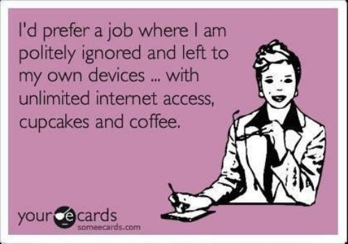 this is pretty much my job when I work overnights... except for the cupcakes.... and the coffee is pretty nasty lol