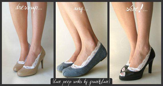 lace peep socks