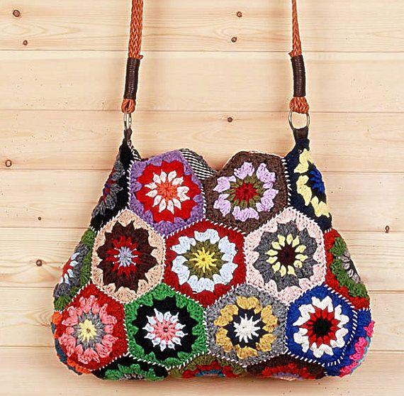 Handmade Crochet Bags : Handmade yarn crochet messenger bag by GansilyoStore on Etsy, $53.07