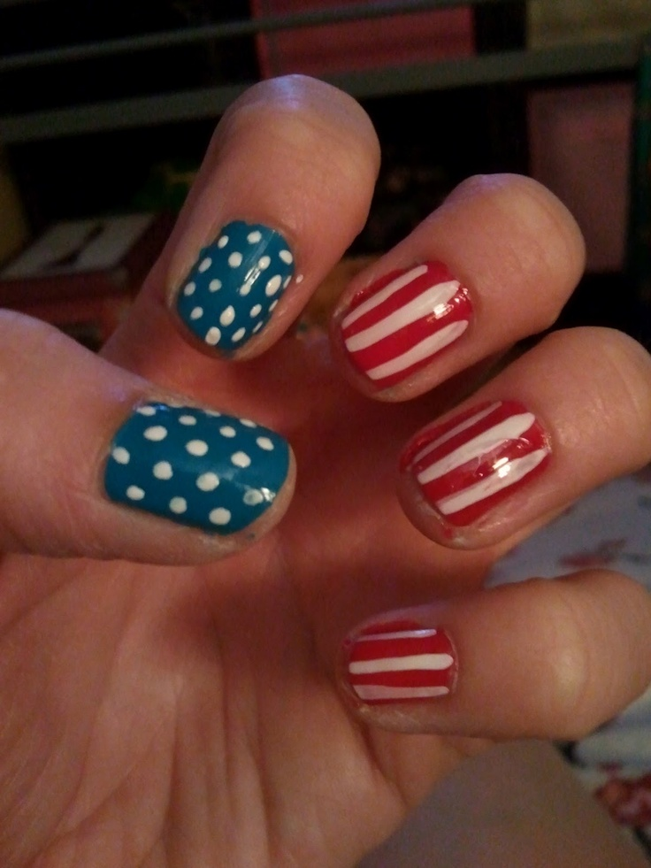 memorial day toe nail art
