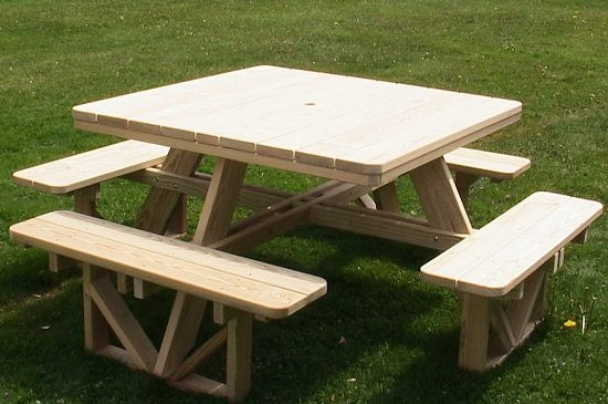 Picnic table that's easy to get in & out off. What a great addition to your yard, patio or deck..