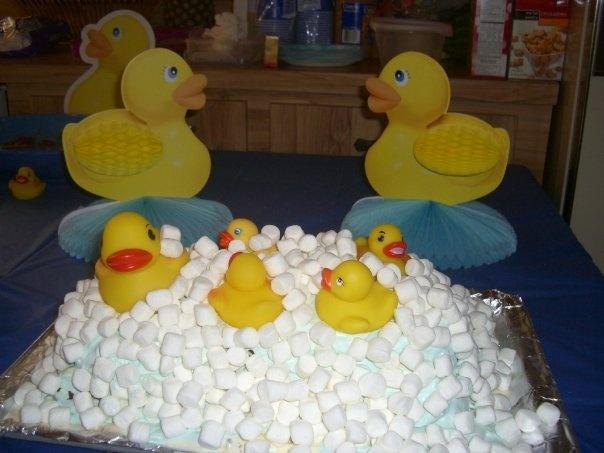 pin rubber duck themed baby shower cake mini ducks tablesc cake on