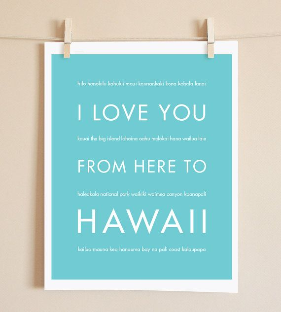 Hawaii Travel Art I Love You From Here To by HopSkipJumpPaper