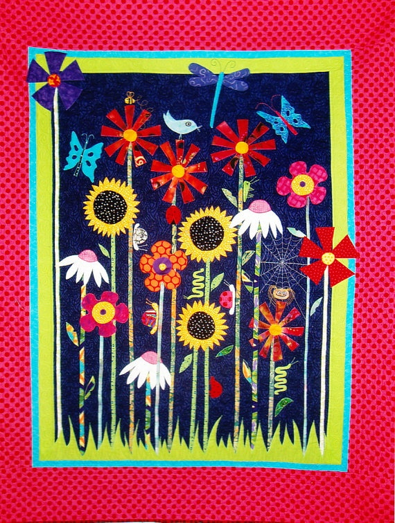 Bugs and Blooms quilt - fun pieced & applique quilt PATTERN - Flying Fish Kits from ETSY shop of Kate Thomas