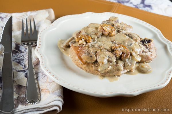 One Skillet Whiskey Flavored Pork Chops with Mushroom Cream Sauce {Via ...
