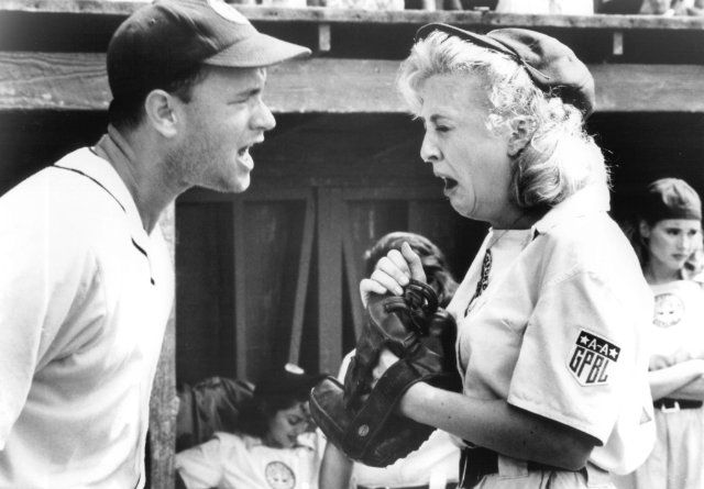 """""""There's no crying in baseball!"""" Love this movie."""