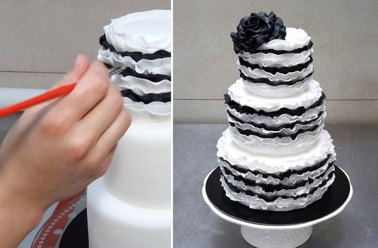 Торт из мастики черно белый