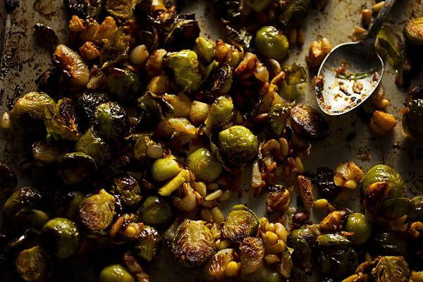Roasted Brussels Sprouts with Cipollini Onion Kimchi