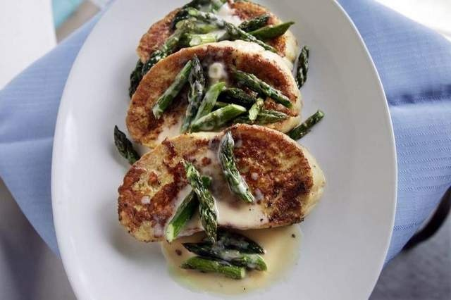 ... : French Toast topped with Asparagus and Orange Beurre Blanc Sauce
