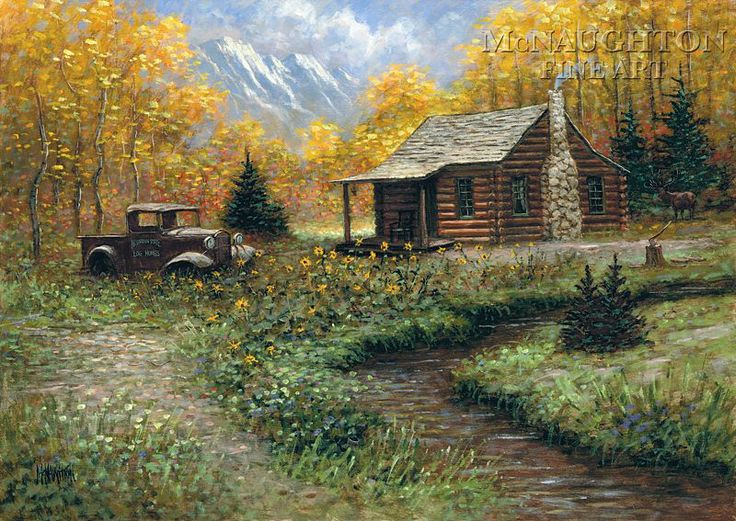 Log cabin paintings pictures to pin on pinterest pinsdaddy for Log cabin painting