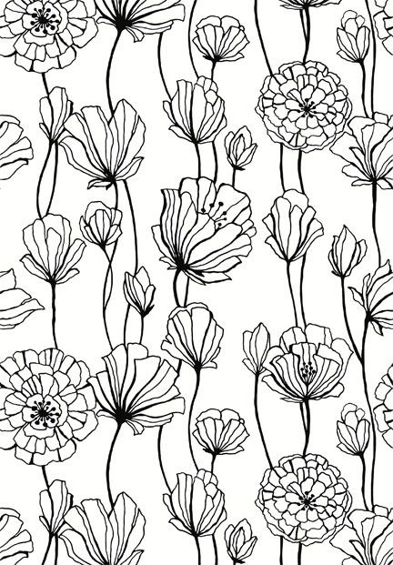 Line Drawing Flower Pattern : Flowers pattern black and white fabric