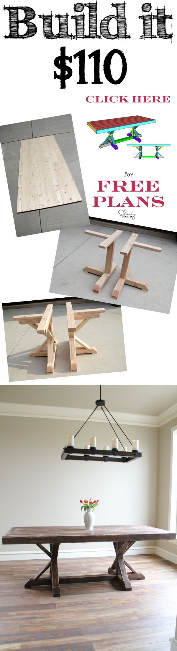 Build this Restoration Hardware Inspired Dining Table for only $110! Great tutorial and FREE Plans!