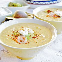 Chilled Southwestern corn and shrimp chowder. Perfect for summer.