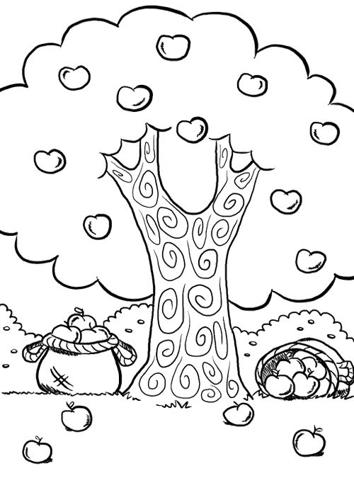 Apple tree free coloring pages for Free printable apple tree coloring pages