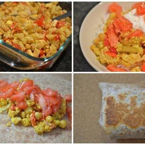 Baked Chickpea, Cauliflower, & Tofu Curry Bowl & Samosa Burritos