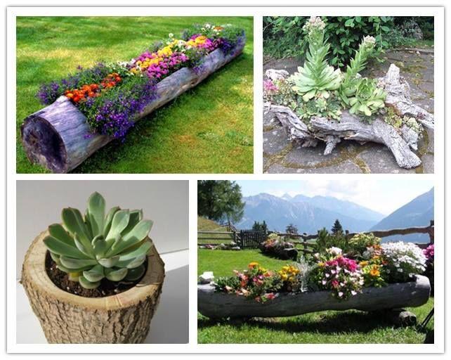 diy log garden planters gardening pinterest