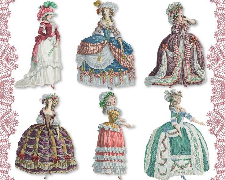 Мария-Антуанетта 04 цифровой коллаж листов PNG вырезы бумажными куклами