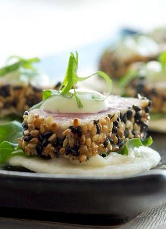 Sesame Crusted Seared Ahi Tuna with Avocado