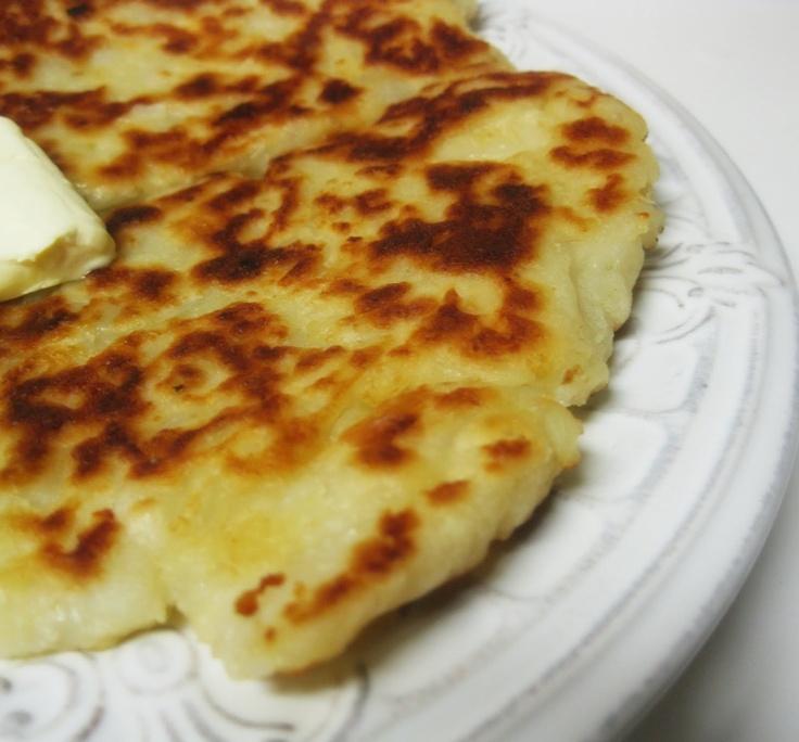 Irish Potato Farl. This is a fried potato bread. I'll add chives.