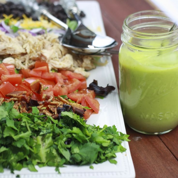 southwestern salad with creamy avocado dressing