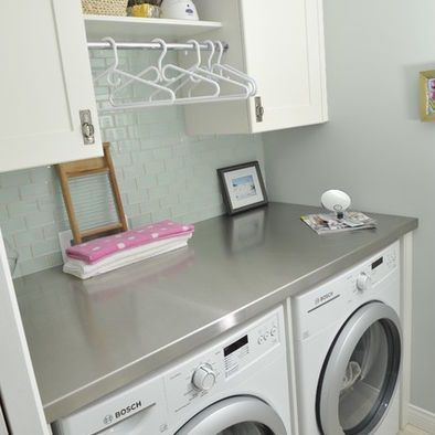 Pin by jenni finlay on great interiors spaces pinterest for Laundry room countertop over washer and dryer