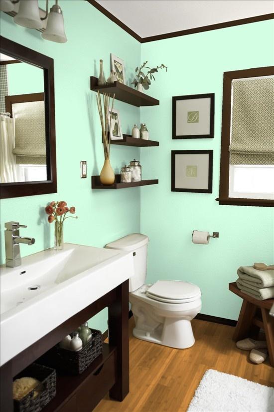 Blue and green bathroom