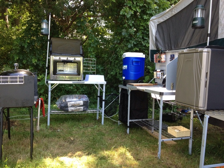Camp kitchen nice set up camp kitchen pinterest for Kitchen setup