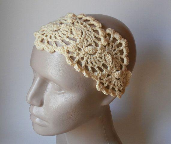 Crochet Hair Kerchief : Bandana - Crochet Hairband - Crochet Headband- Hair Fashion Accessori ...