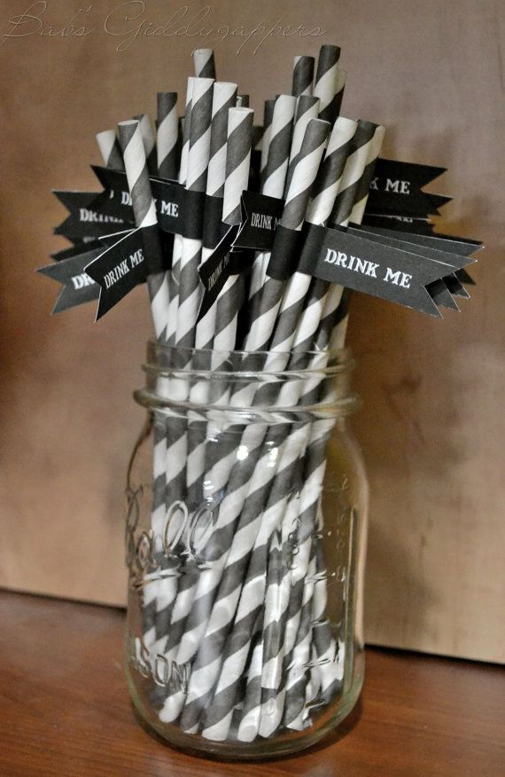 black and white party straws instead do wedding colors/name tag in mason jar