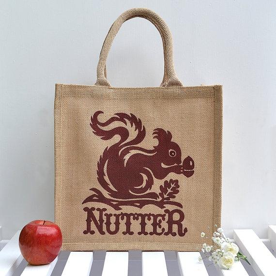 Squirrel Nutter Jute Bag Medium by Snowdon on Etsy, $17.95