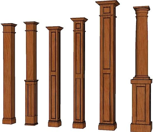Custom Built Stained Wood Interior Columns Columns