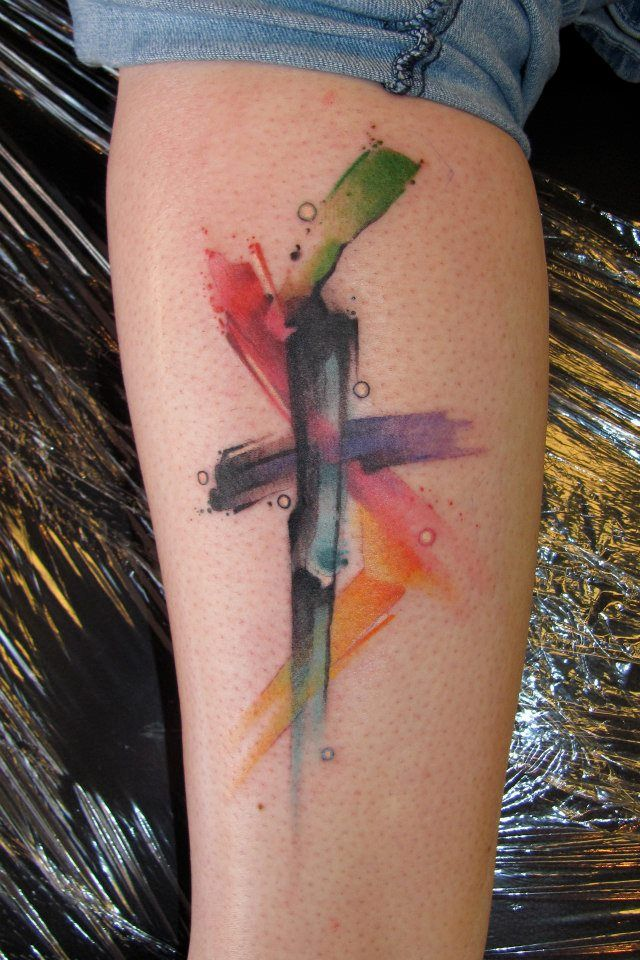 Watercolor cross tattoo wonder if it could be done small