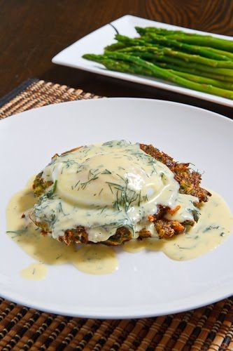 Asparagus and Feta Fritters topped with a Poached Egg and Avgolemono