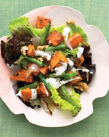 red-leaf salad with roasted sweet potatoes and green beans # ...