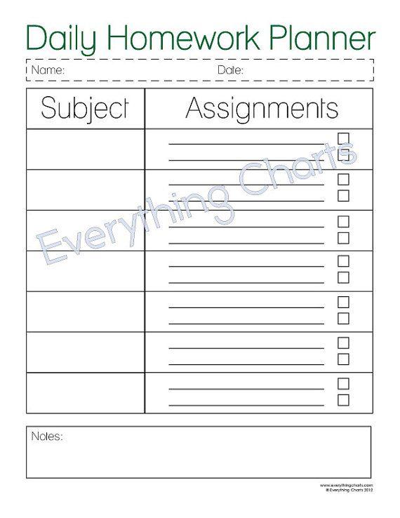 Daily Homework Planner Template  Printable Editable Blank